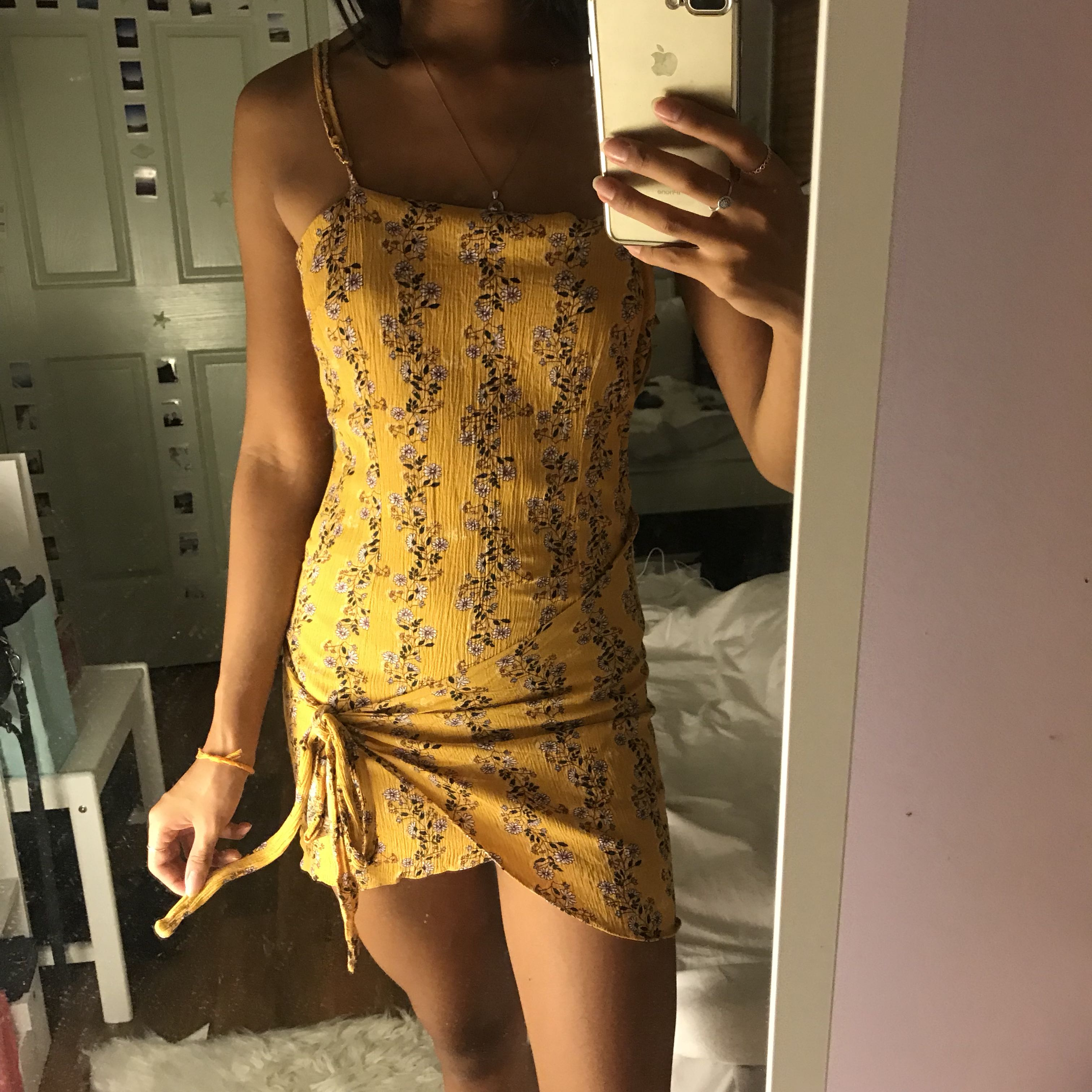 Yellow floral tie dress