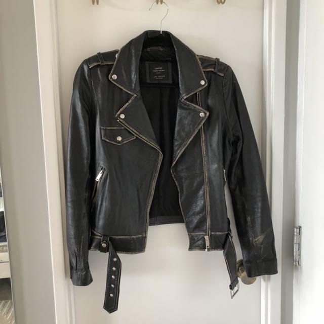 ZARA Distressed Leather Jacket M