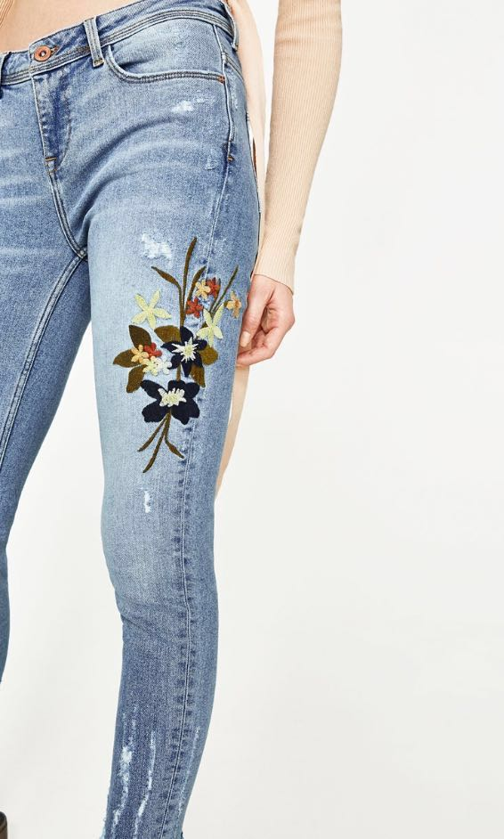 Zara Embroidered Mid Rise Jeans
