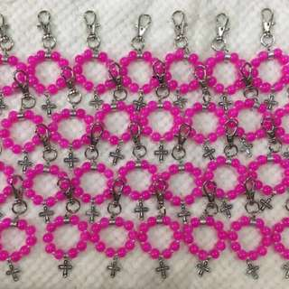 28 pcs fuchsia pink keychain souvenirs (promo: free greeting card and shipping fee within MM)