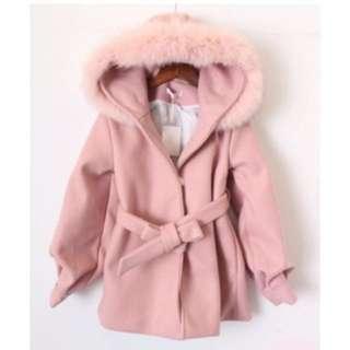 🚚 毛毛澎澎袖粉色毛呢外套