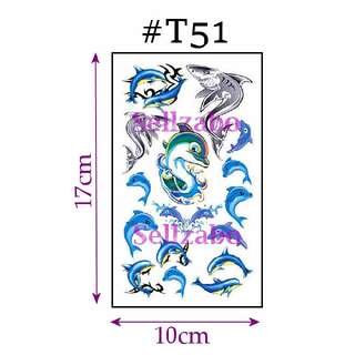 ★Blue Dolphins Fake Temporary Body Tattoos Stickers Sellzabo #T51