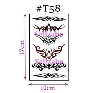 ★Black Tribal Tribes Totem Paisley Long Patterns Design Fake Temporary Body Tattoos Stickers Sellzabo #T58
