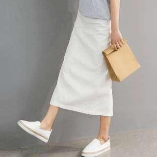 白色 裙 半截裙 長裙