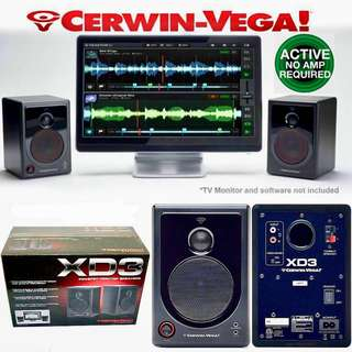 CERWIN-VEGA POWERED ACTIVE DESKTOP MONITOR SPEAKERS (UP $349) BEST WAREHOUSE DEAL $150 PER PAIR