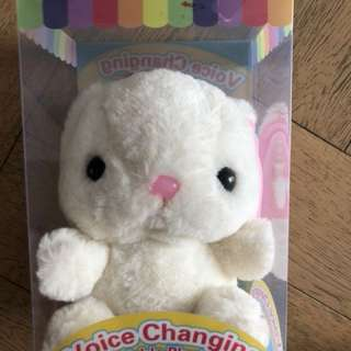 White Bunny Soft Plush Toy with voice changing fun