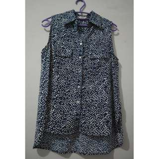 et cetera blue polkadot blouse