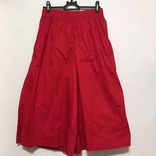 休閒 鮮紅 寬褲 褲裙 裙子