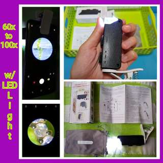 🌟 Universal Clip Type LED Cellphone/Handphone Pocket Microscope w/ Adjusting Wheel & Focusing Wheel ✔60x up to 100x Magnification ✔W/ LED Lights ✔Used for: ✅Jewellery ✅Diamonds ✅Watch ✅Amulets ✅Stamps ✅Antique Collection ✅W/ Free Batteries (3 x LR1130)