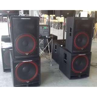 """CERWIN-VEGA PROFESSIONAL PA 15"""" 2-WAY SPEAKER + 18"""" SUBWOOFER PACKAGE (UP $2,540) WAREHOUSE PRICE $900 (1 UNIT EACH)"""