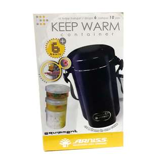 ARNISS FOOD THERMOS / KEEP WARM COLD LUNCH PACK BLACK & MAROON