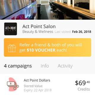 Act Point Hair Services Credit of $69.40