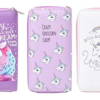 Crazy unicorn lady Long pastel lilac wallet