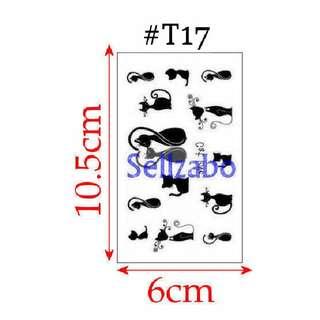 ★Black Cats Fake Temporary Body Tattoos Stickers Sellzabo Colours Kittens #T17
