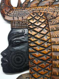 Solid wood carved wall hanging art