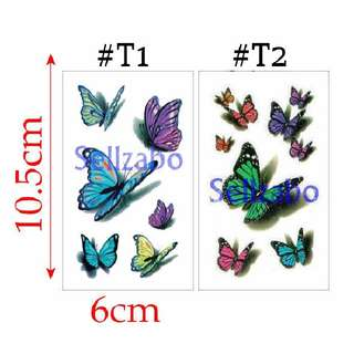 ★$5 : #T1 #T2 Fake Temporary Body Tattoos Stickers Sellzabo Colourful Butterfly Butterflies