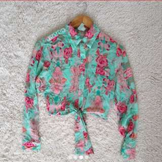 REPRICED!!! from p288!!!Forever 21 exclusive Floral sheer Tie- Front blouse