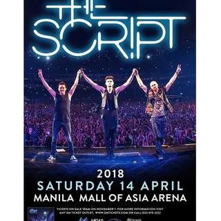 3 TICKETS FOR THE SCRIPT 2018 (UPPER BOX 404 CORAL)