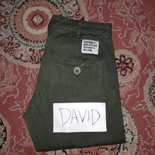 Olive Green Chino Pants by Wellborn
