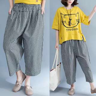 Large size women's fat mm was thin cotton black and white lattice loose casual pants 9 points high waist wide-leg pants summer