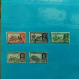 5 pcs 1937 India stamps Mail Transports