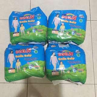 jual murah diapers baby / popok sekali pakai merk GOON smile baby pants jumbo L isi 20pcs ada 4 bungkus baru