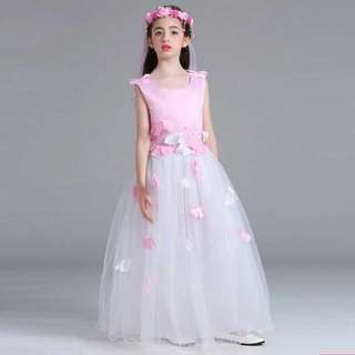 Pink and White Flowers Rose Long Dress Gown Wedding Kids