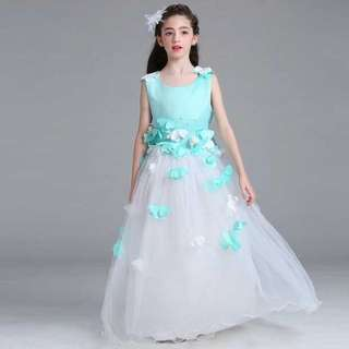 White and Apple Green Flowers Rose Long Dress Gown Wedding Kids