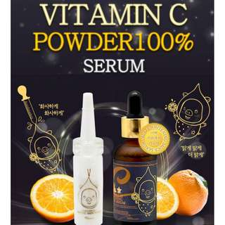 Vitamin C 100% Powder + Vita-multi Whitening Source Serum 30ml