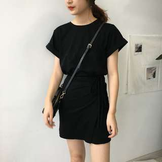 (Pre-order) Basic Ribbon Tee Dress
