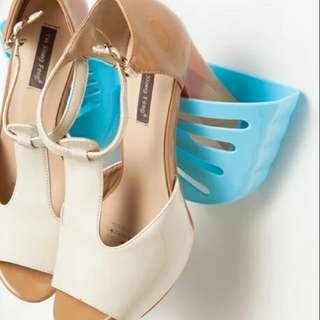 淺藍色黏貼式鞋架