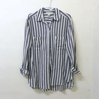 近全新//H&M亞麻襯衫 藍白條紋