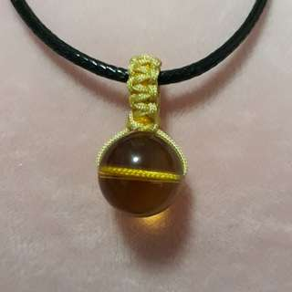 🌻Citrine pendant(黄水晶吊坠) set in Macrame, Simple and nice. Bead size 14mm. Include Rope chain.