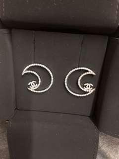 Chanel 耳環 閃石月亮