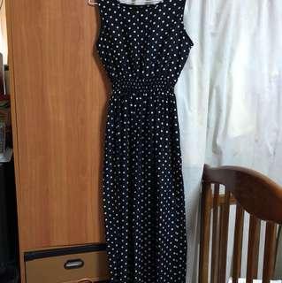 黑色圓點長洋裝