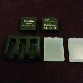 小蟻4K運動相機電池AZ16-1 兩粒連充電器