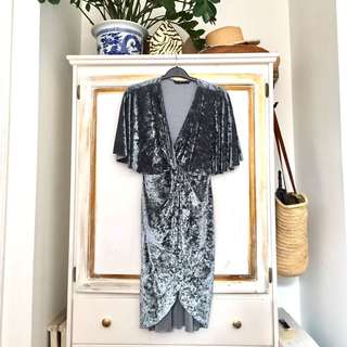 Zara blue velvet wrap dress size M NWOT