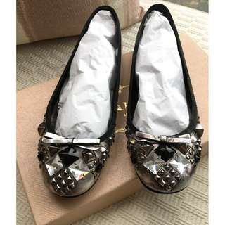 Prada    Swarovski crystals & studs leather ballerina shoes  ~Size 36-1/2  @Made in Italy  @