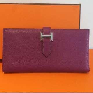 全新愛馬仕山羊皮長銀包經典款式系列 Hermes Long Bearn Wallet Chèvre 紫色 Anemone New