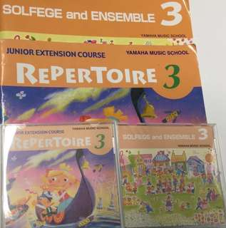 Yamaha Junior Extension Course (JXC) level 3 Solfege and Ensemble & Repertoir CDs and books