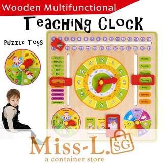 👑 WOODEN MULTIFUNCTIONAL TEACHING CLOCK