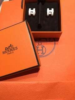 Hermes Pop H 玫瑰金耳環白色