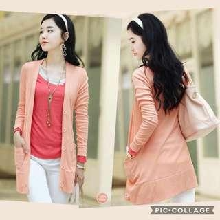 Brand New Plus Size Pink Hip Length Cardigan with Pockets XXXL XXL XL