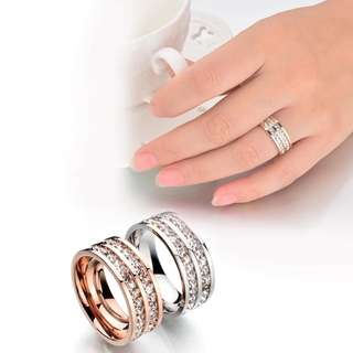 Double Row CZ crystals Luxury Stainless steel Ring
