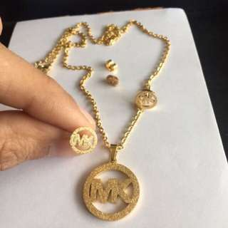 MK - 18k Real Gold plated NECKLACE STUDS SET
