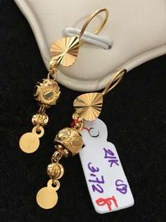 21K 875 Ladies Heart Drop Dangling Earrings Genuine Gold