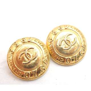 AUTHENTIC CHANEL GOLD PLATED CC LOGO EARRINGS