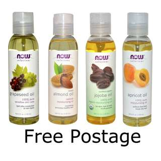 [BN] NOW Grapeseed Oil | NOW Almond Oil | NOW Organic Jojoba Oil | NOW Apricot Oil - 118ml each