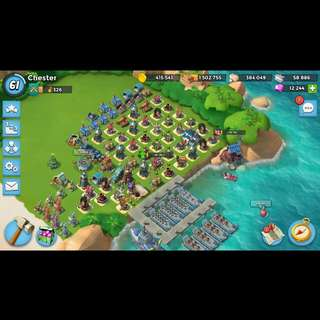 Boom beach account ( Level 61 almost maxed out ) ~NEGOTIABLE