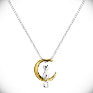Moon and Cat 925 Sterling Silver Necklace